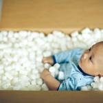 ダンボール+赤ちゃん