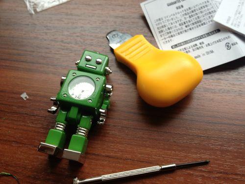 ミニチュアクロックロボット電池交換