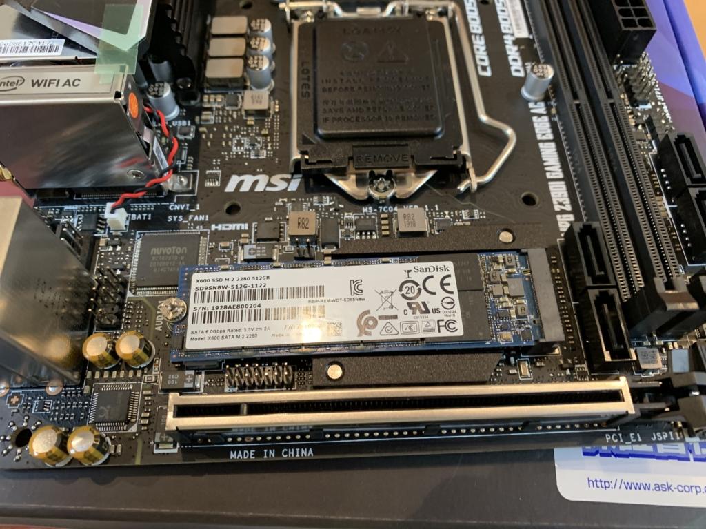 M.2 SSD取り付け